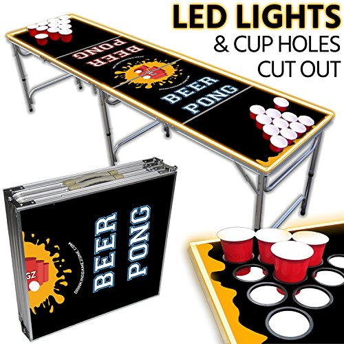 Portable LED Beer Pong Table – 8ft & Easy Folding w/ Adjustable Height – Cup Holes Cut Out Design w/ Yellow Lights – Perfect for Tailgates, BP Parties, Flip Cup By Drinking Game Zone by Drinking Game Zone