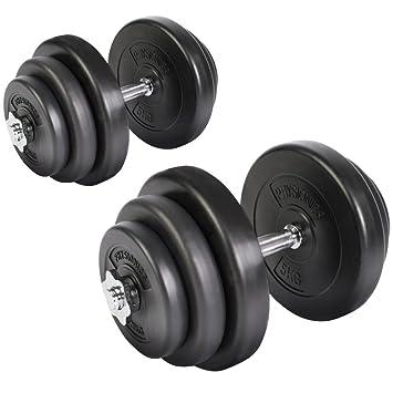 Physionics Lot de 2 Haltères Courts Poids 40 kg (2 x 20 kg) avec ... d0813a46164