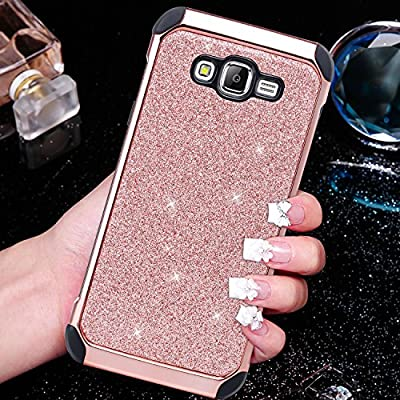 Galaxy J7 Case, BENTOBEN Glitter Luxury Bling Hybrid Slim Hard Covers Laminated with Sparkly Shiny Synthetic Leather Chrome Shockproof Soft Bumper Protective Case for Samsung Galaxy J7 by BENTOBEN