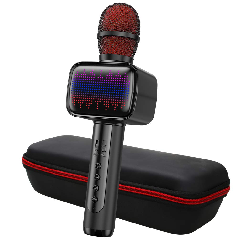 Karaoke Microphone, Wireless Bluetooth Karaoke Microphone with Multi-color LED Lights, Portable Handheld Mic Speaker for iPhone/Andriod/PC/Tablet, Indoor & Outdoor Home Party KTV