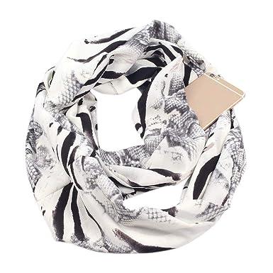 Guoyy Femmes double couche secret caché fermeture à glissière poche infini boucle  écharpe hiver anneau couverture a7f17f5baa8