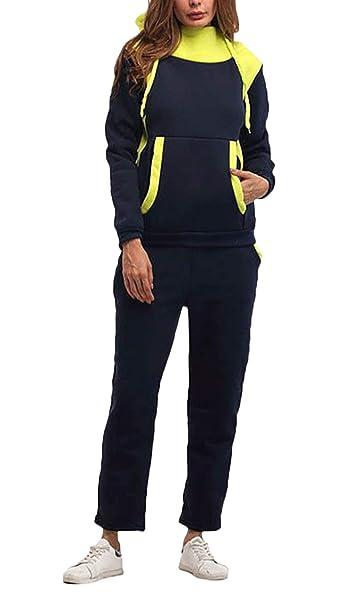 Chandal Mujer Primavera Otoño Ropa Casual Elegantes Vintage Manga Larga con Bolsillos Sudaderas con Capucha Básico Y Largo Pantalon Dos Piezas Set Ropa ...