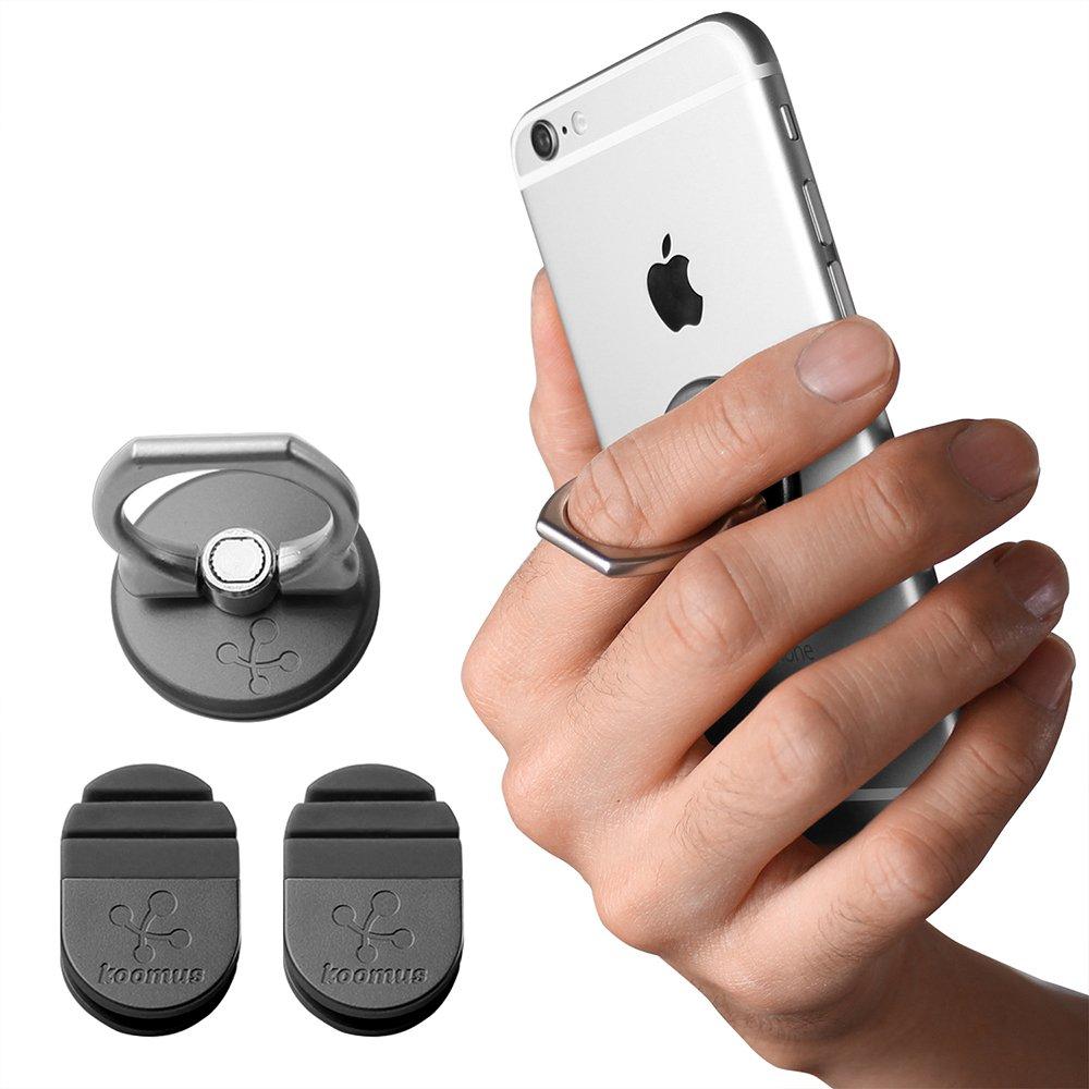 Koomus Finger Ring Phone Grip Universal Smartphone Kickstand Car Mount Holder (GRAY)