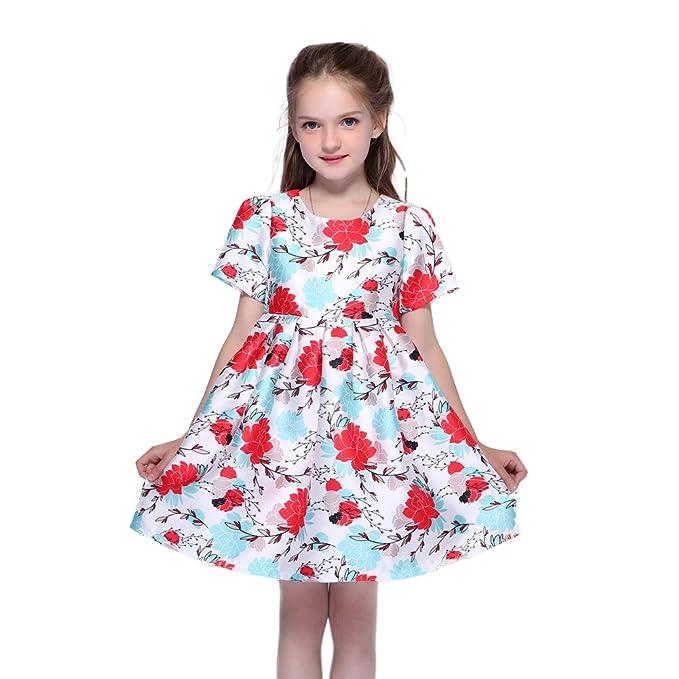 b851eef54f3e Amazon.com  Kseniya Kids Big Little Girls Short Dresses Flower ...