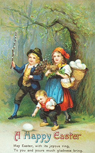 A Happy Easter Scene of Children Carrying, Collecting Eggs