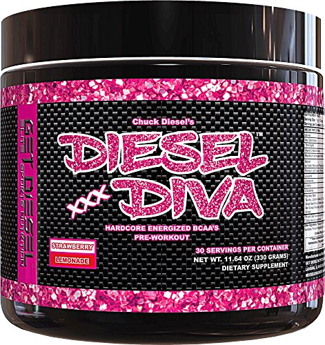 Women Preworkout Energizer and Energy Shot Strawberry Lemonade Diesel Diva Energized BCAAs with no artificial flavors or colors. 3 Grams Vegan Friendly Fermented BCAAs. 330 grams (Girl Go Go Strawberry)
