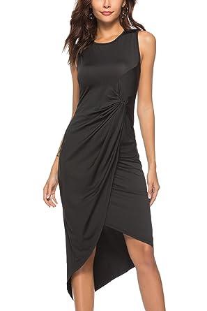 79f2f2a9234 YOSICIL Femme Robe Longue Sexy Asymétrique Robe Plissée Noir sans Manches  Elégante Robe de Soirée Cocktail