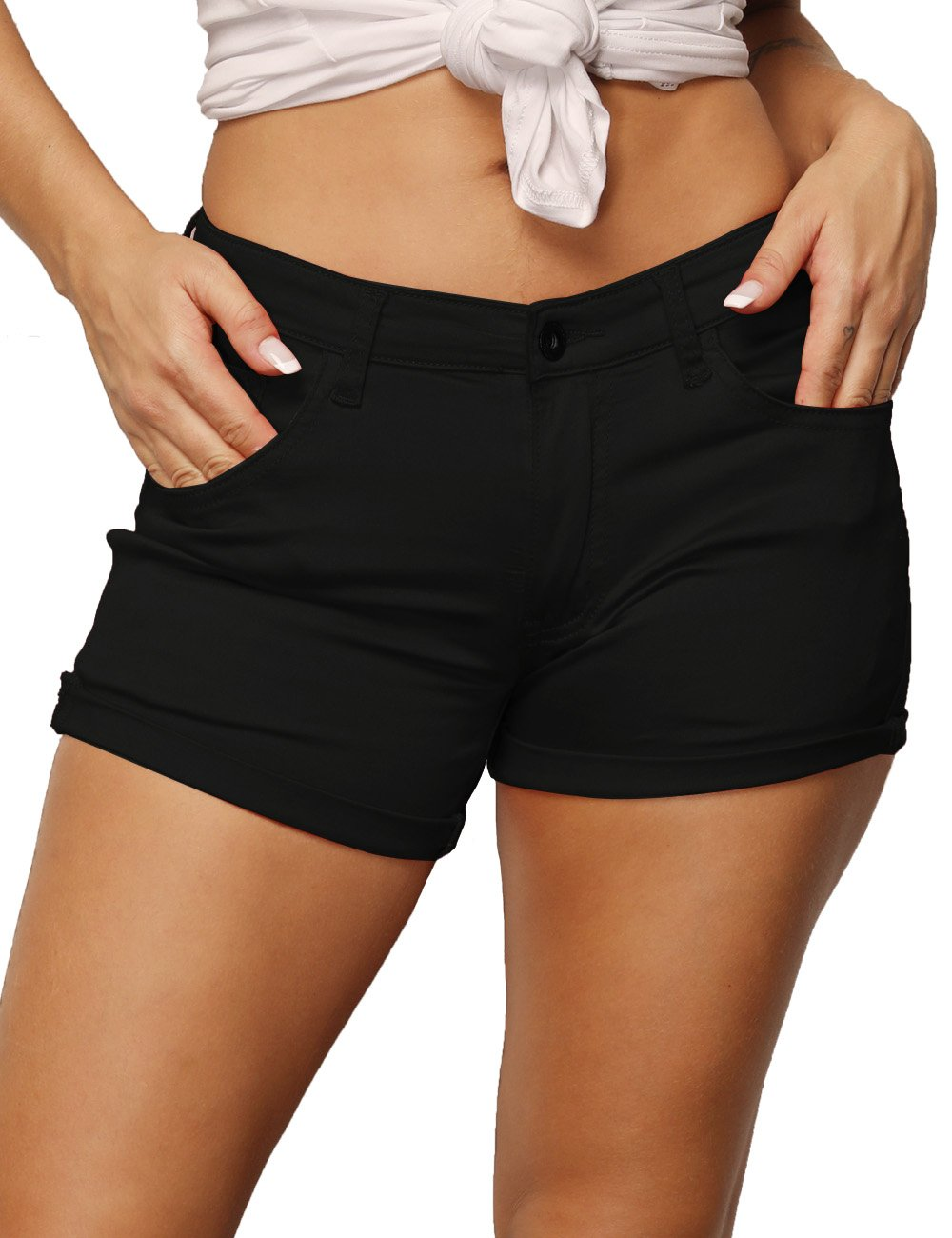 Haola Women's Casual Stretchy Shorts Juniors Summer Mid-Rise Shorts Black M