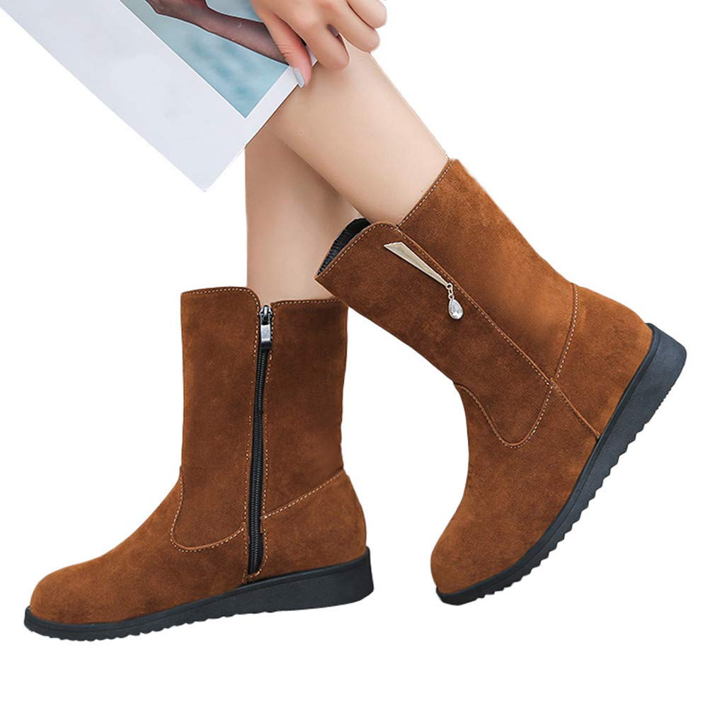 Memela Boot Women Flat Rhinestone Booties Middle Tube Suede 2cm Martin Boots Shoes Zipper