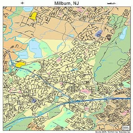 Amazon.com: Large Street & Road Map of Millburn, New Jersey ...