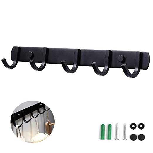 Perchero Pared, Ganchos Percheros de Pared de Montaje para Dormitorio Baño y Cocina, Perchas de Acero Inoxidable Engrosado Negro (5 Hook)