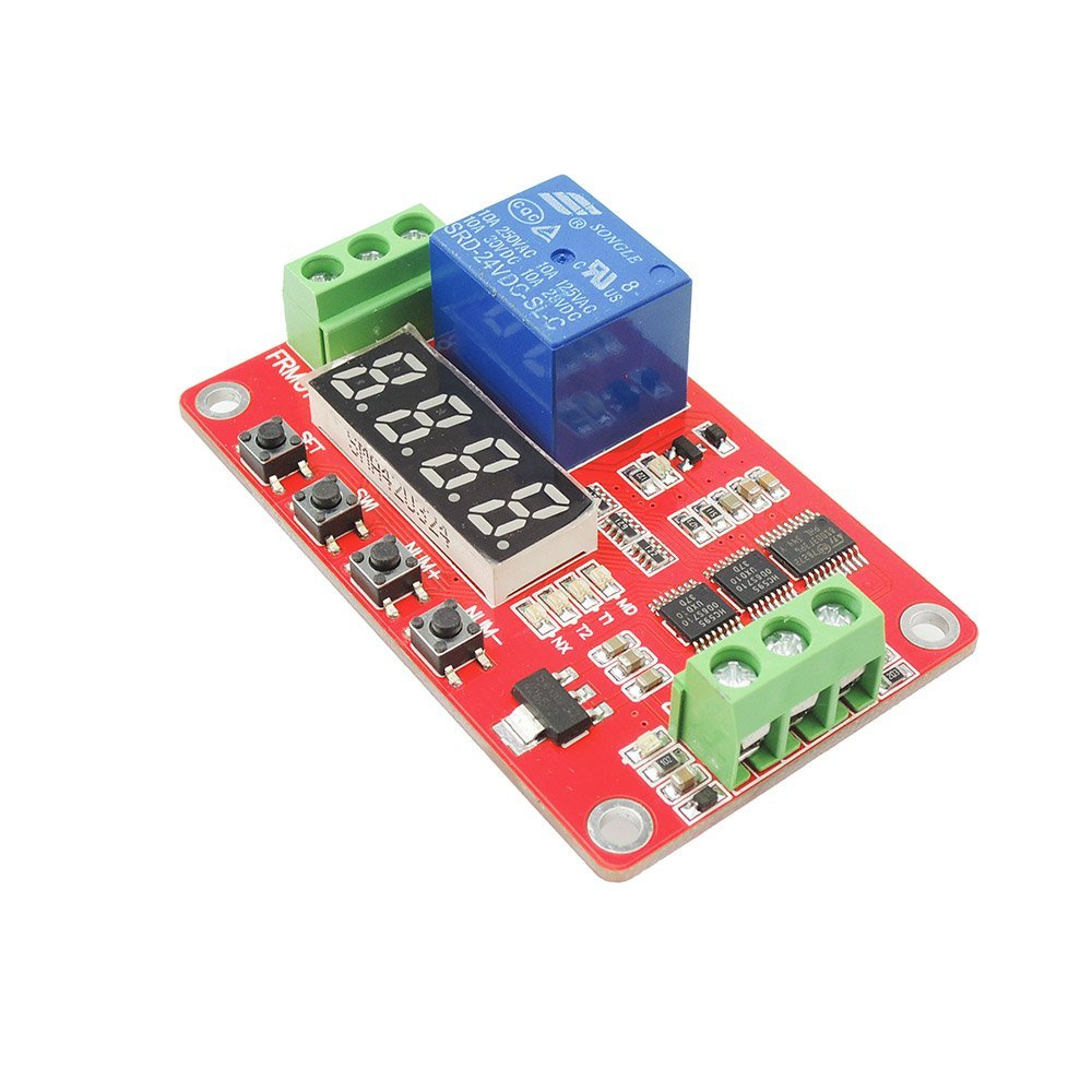 uniquegoods 24V DC Multifunction Self-lock Relay PLC Cycle Timer Module Delay Time Switch