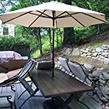 Sumbel Outdoor Living 10 FT Round Market Patio Umbrella with Push Button Tilt and Crank Lift, Beige
