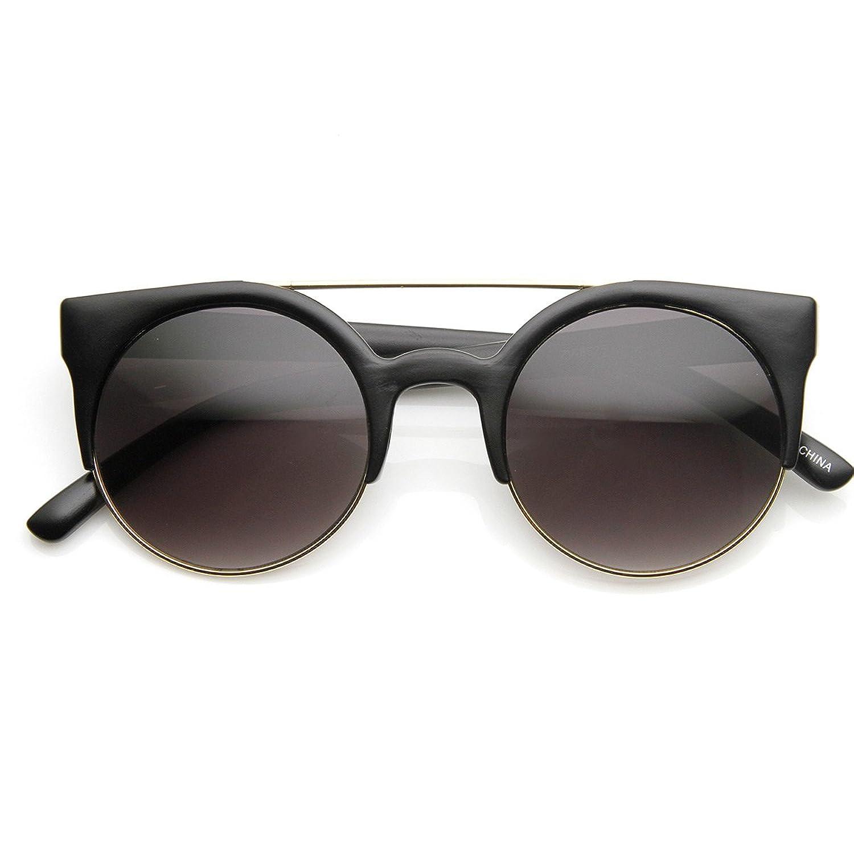 cec889a3f66e zeroUV - Retro Circle Round Half Frame Aviator Bar Sunglasses 80%OFF ...