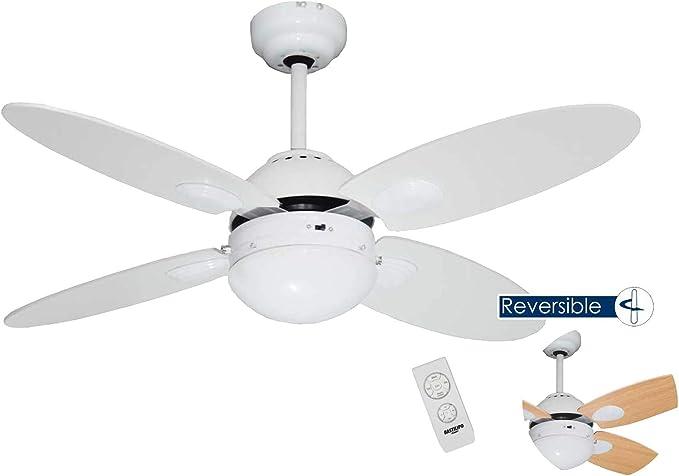 Bastilipo Ventilador Techo con Mando A Distancia E27, 60 W, Blanco, 105 x 41 cm: Amazon.es: Iluminación