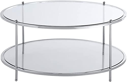 Convenience Concepts Royal Crest 2-Tier Round Coffee Table, Clear Glass Chrome Frame