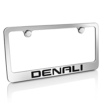 gmc denali chrome metal license plate frame