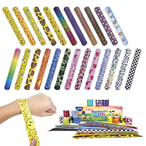 COVASA Slap Bracelets Party 72 PCs(24 Designs)Hearts/animal Print Kids Toys Christmas ()