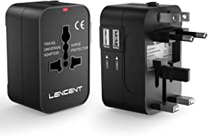 LENCENT Universal Travel Adaptor, All-in-One International Power Adapter, Worldwide Travel Charger for US, UK, EU, AU, Over 200 Countries