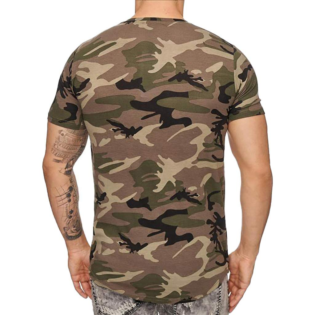 4Clovers Mens Shirts Casual Summer Camouflage Slim Fit Tee Shirt Short Sleeve Muscle T-Shirt Classic Tshirts Tops