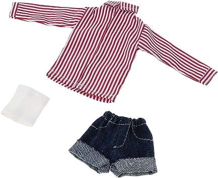 Doll T-shirt Short Denim Pants Bra Clothes Set for Blythe Dolls Accessory
