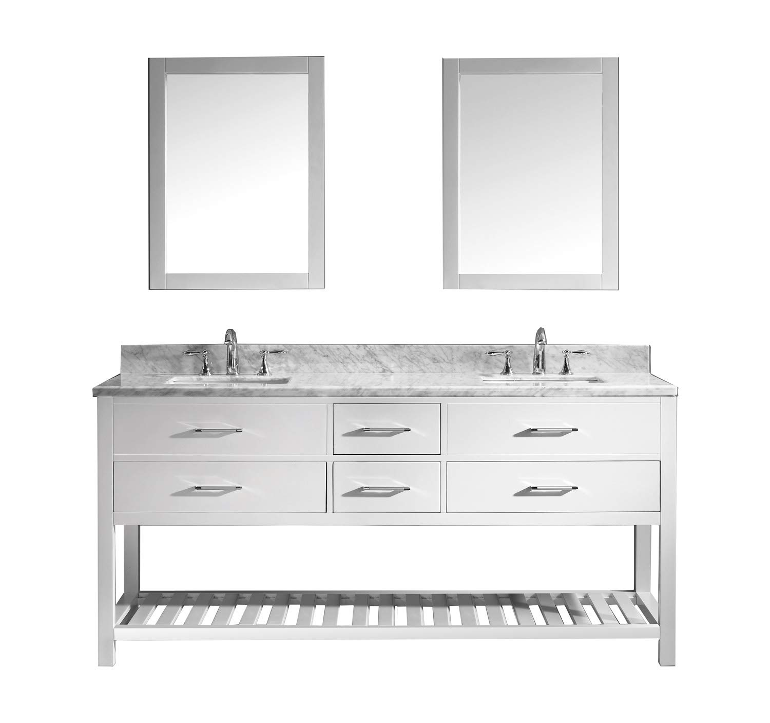 Virtu USA Caroline Estate 72 inch Double Sink Bathroom Vanity Set in White w Square Undermount Sink, Italian Carrara White Marble Countertop, No Faucet, 2 Mirrors – MD-2272-WMSQ-WH