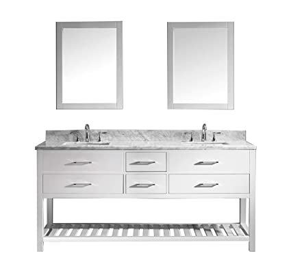 Fabulous Virtu Usa Caroline Estate 72 Inch Double Sink Bathroom Vanity Set In White W Square Undermount Sink Italian Carrara White Marble Countertop No Home Interior And Landscaping Ponolsignezvosmurscom