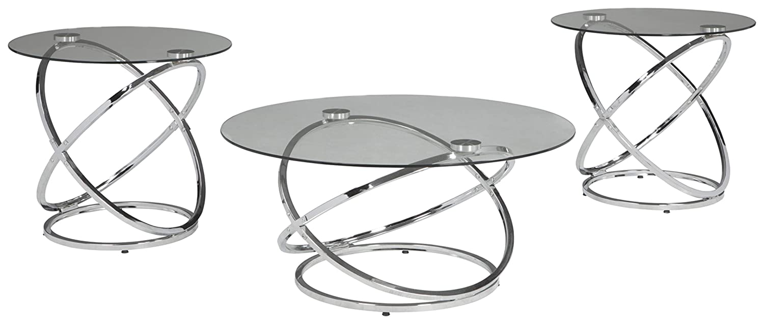 Ashley Glass Coffee Table.Ashley Furniture Signature Design Hollynyx Contemporary 3 Piece Table Set Includes Cocktail Table Two End Tables Chrome Finish