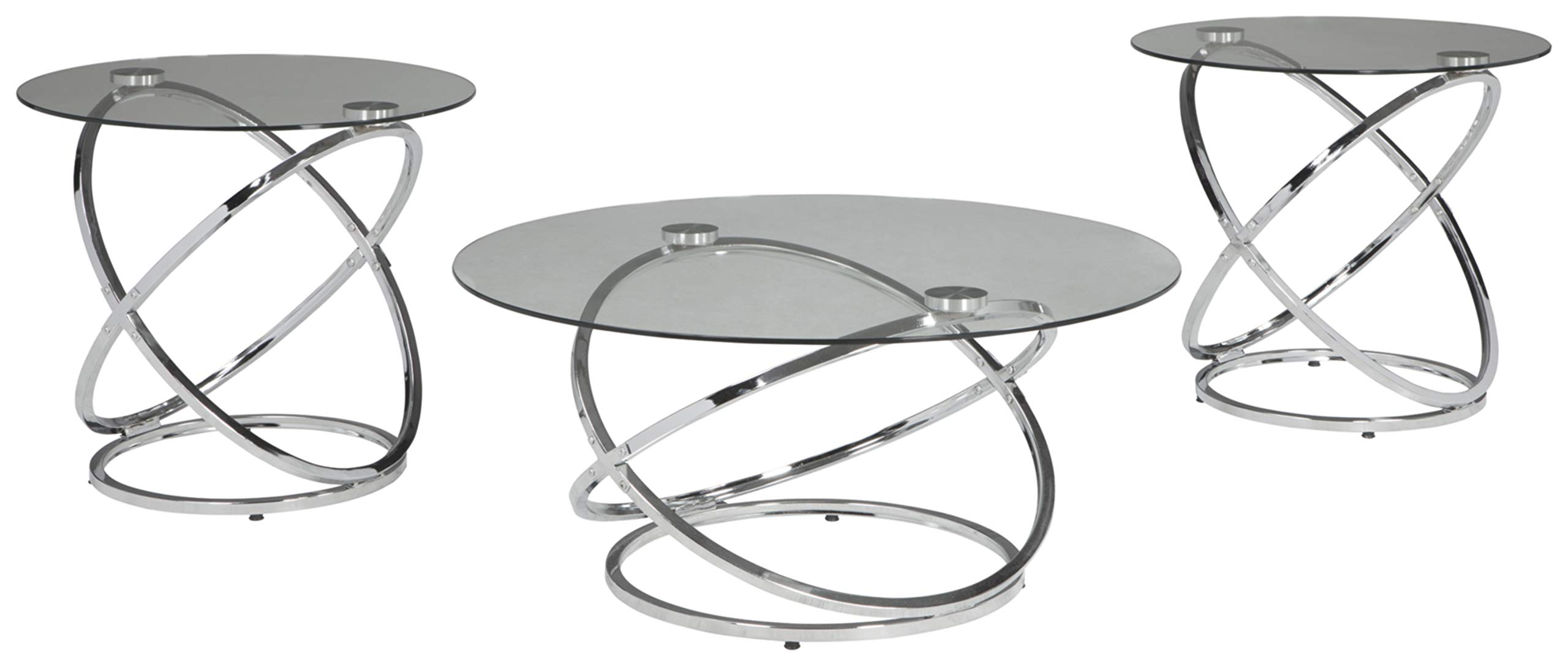 Ashley Furniture Signature Design - Hollynyx Contemporary 3-Piece Table Set - Includes Cocktail Table & Two End Tables - Chrome Finish by Signature Design by Ashley