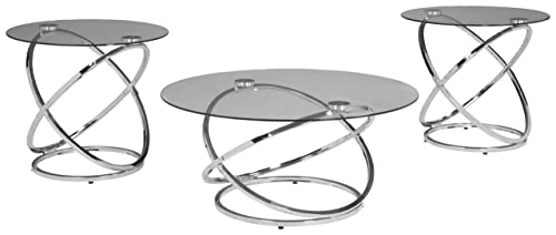 Signature Design by Ashley – Hollynyx Contemporary 3-Piece Table Set – Includes Cocktail Table Two End Tables, Chrome Finish