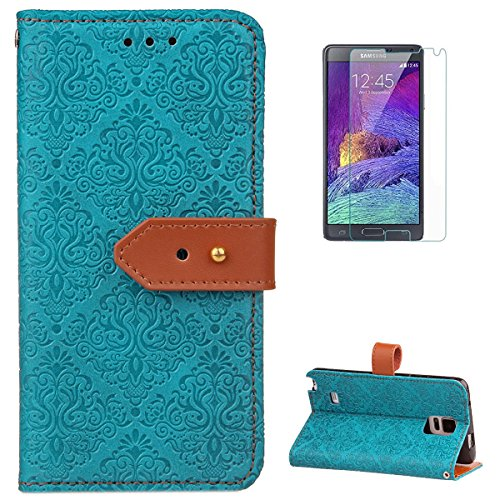 Samsung Galaxy Note 4 Leather Wallet Case [Free Screen Protector],KaseHomeVintage Flower Paisley Pattern Design Folio Magnetic Flip Stand PU Leather Protective Case Cover Skin ()