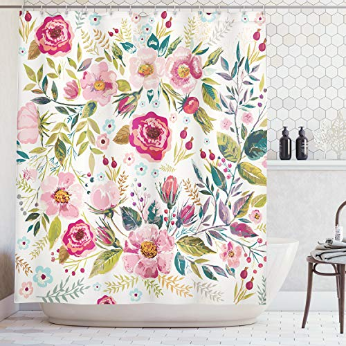 - Ambesonne Floral Shower Curtain by, Shabby Chic Flowers Roses Pedals Dots Leaves Buds Spring Season Theme Image Artwork, Fabric Bathroom Decor Set with Hooks, 75 Inches Long, Multicolor