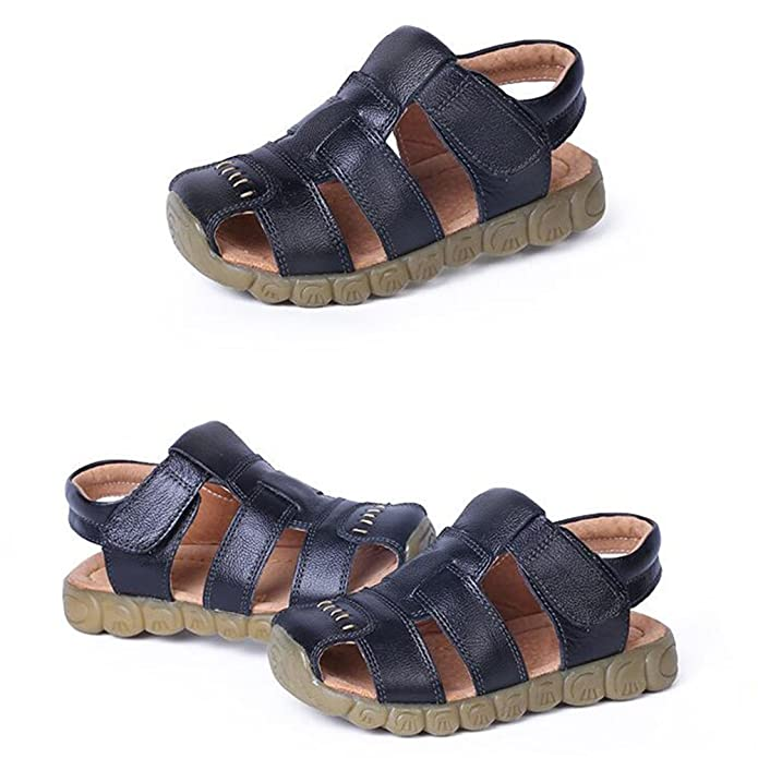 hibote Fashion Summer Soft Leather Beach Sandals Baby Boys Prewalker Soft  Sole Genuine Leather Casual Outdoor Sandals: Amazon.co.uk: Shoes & Bags