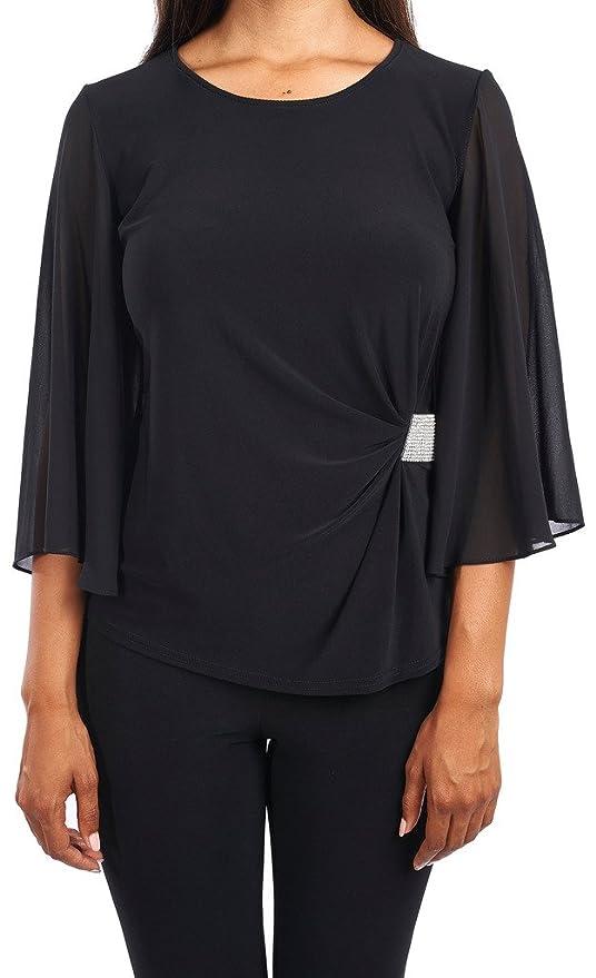 300fedc3871e1 Joseph Ribkoff Black Bell Sleeve Jersey Bodice Blouse + Crystals Style  164270 - Size 8: Amazon.co.uk: Clothing