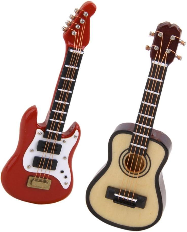 2 Piezas Escala 1:12 Miniaturas Modelo de Guitarra Eléctrica ...