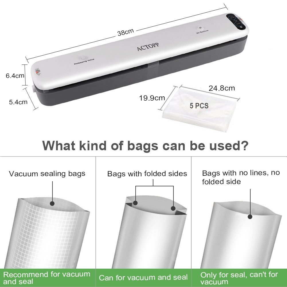 Vacuum Sealer Machine ACTOPP Portable Automatic Mini Vacuum Sealing System for Food Preservation Fresh and Storage Household Packing Sealer for Cooking Dry & Moist Foodwith 5pcs Free Sealer Bags