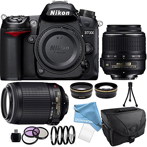 Nikon D7000 Digital SLR Camera Body with Nikon 18-55mm, 55-200 G lens, Camera Case,Filter kit set and Much More
