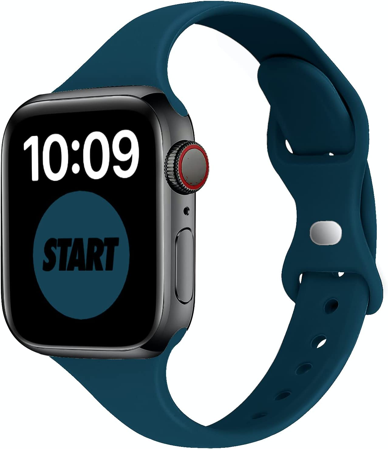 STG Sport Band Compatible with Apple Watch 38mm 40mm 42mm 44mm, Soft Silicone Slim Thin Narrow Replacement Strap Compatible for iWatch SE Series 6/5/4/3/2/1 (Mallard Green, 38/40mm)