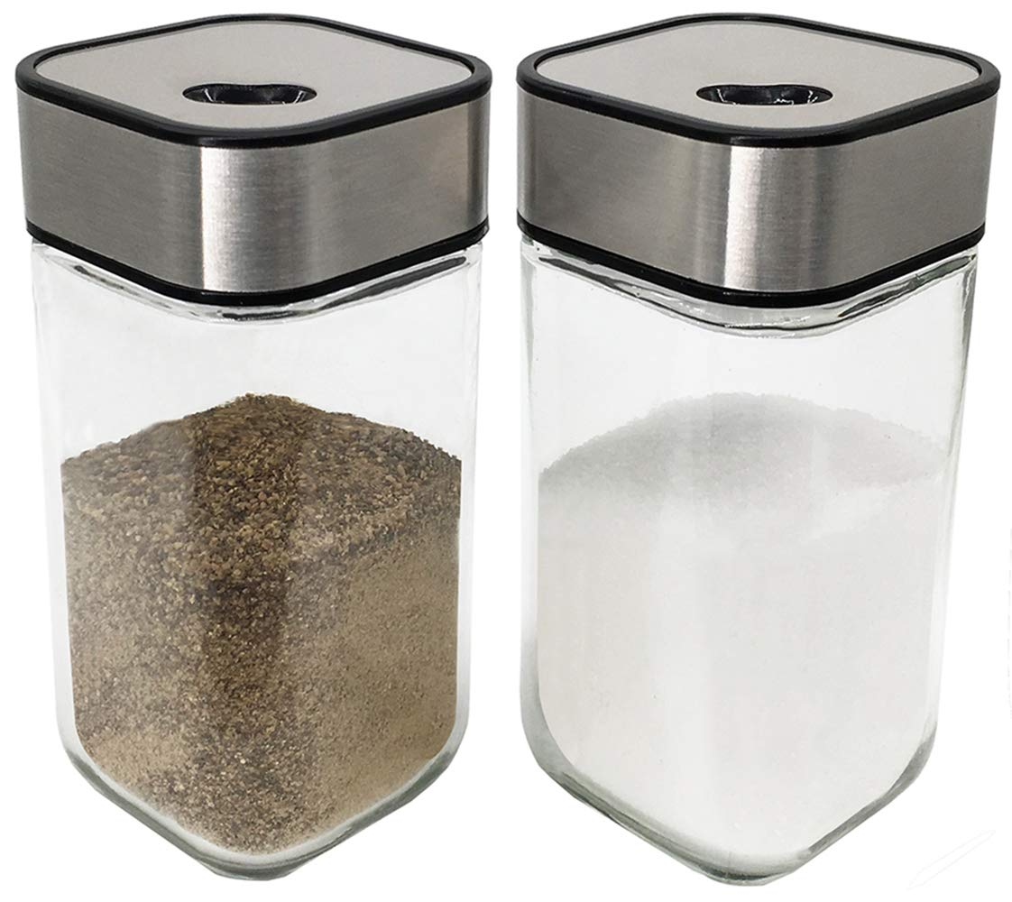 Salt and Pepper Shakers Set with Adjustable Pour Holes - Premium Salt Shakers w/Clear Glass Bottom (2-Pc. Set) by SILUKER
