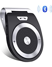 Aigoss Manos Libres Bluetooth 4.1 Coche Kit, Auto Power ON con Sensor de Movimiento Integrado y Aconectar Dos Teléfonos, Altavoz Inalámbrico para Teléfonos Móviles/Siri/Google Assistant/GPS/músic