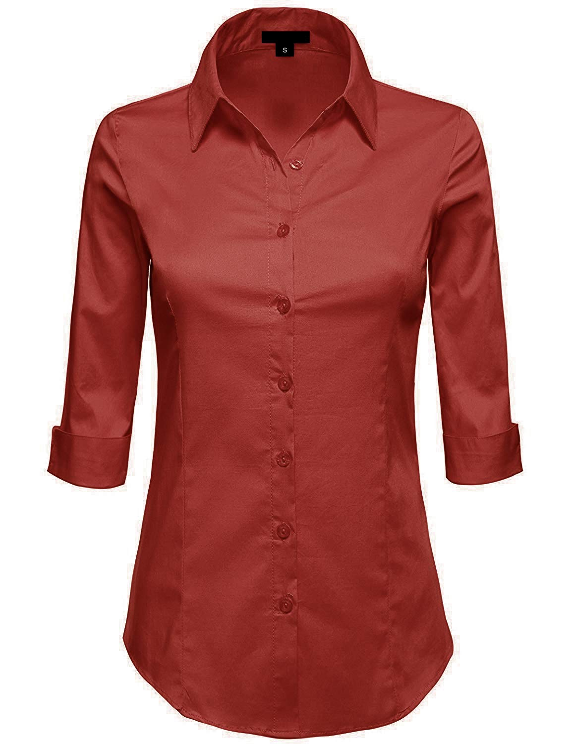 MAYSIX APPAREL Plus Size Womens 3/4 Sleeve Stretchy Button Down Collar Office Formal Shirt Blouse Brick 1XL