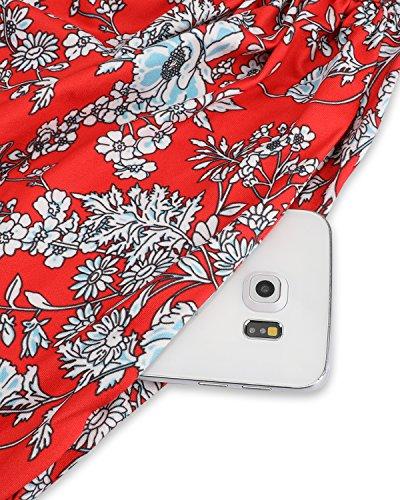 Ouges Modèle V-cou Féminin Poche Maxi Longue Robe À Fleurs-10