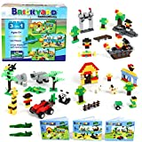 3-in-1 Building Bricks Set, 625 Pieces Compatible Brick Toys by Brickyard Building Blocks - Farm, Pirates, & Zoo Theme w/ Instructions, 2 BONUS Brick Separators, and Reusable Storage Box (625 pcs)