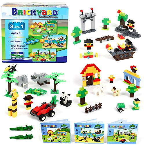Brickyard Building Blocks 3-in-1 Building Bricks Set, 625 Pieces Compatible Brick Toys - Farm, Pirates, & Zoo Theme with Instructions, 2 Bonus Brick Separators, and Reusable Storage Box (625 pcs)