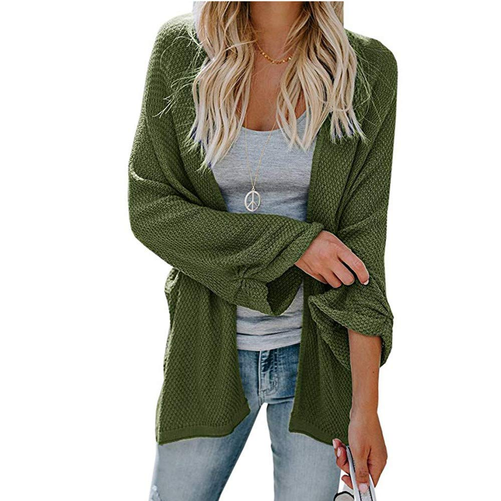WOCACHI Womens Knit Cardigans Long Sleeve Open Front Outwear Solid Cover Ups