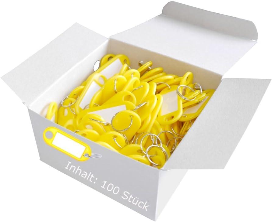 Wedo 262801805 Llavero con anillo de plástico, etiquetas intercambiables, 100 piezas, amarillo