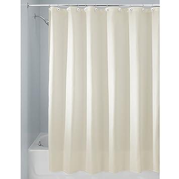 InterDesign Carlton rideau de douche tissu pour salle de bain, rideau  douche imperméable en polyester, rideau baignoire avec œillets renforcés,  beige