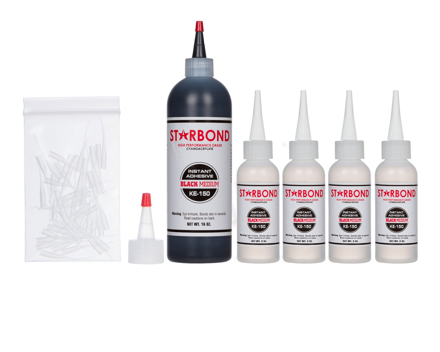 Starbond KE-150 Black Medium, PREMIUM Rubber Toughened CA - Super Glue Kit with Extra Bottles, Caps, and Microtips, 16 oz. (Bulk size)