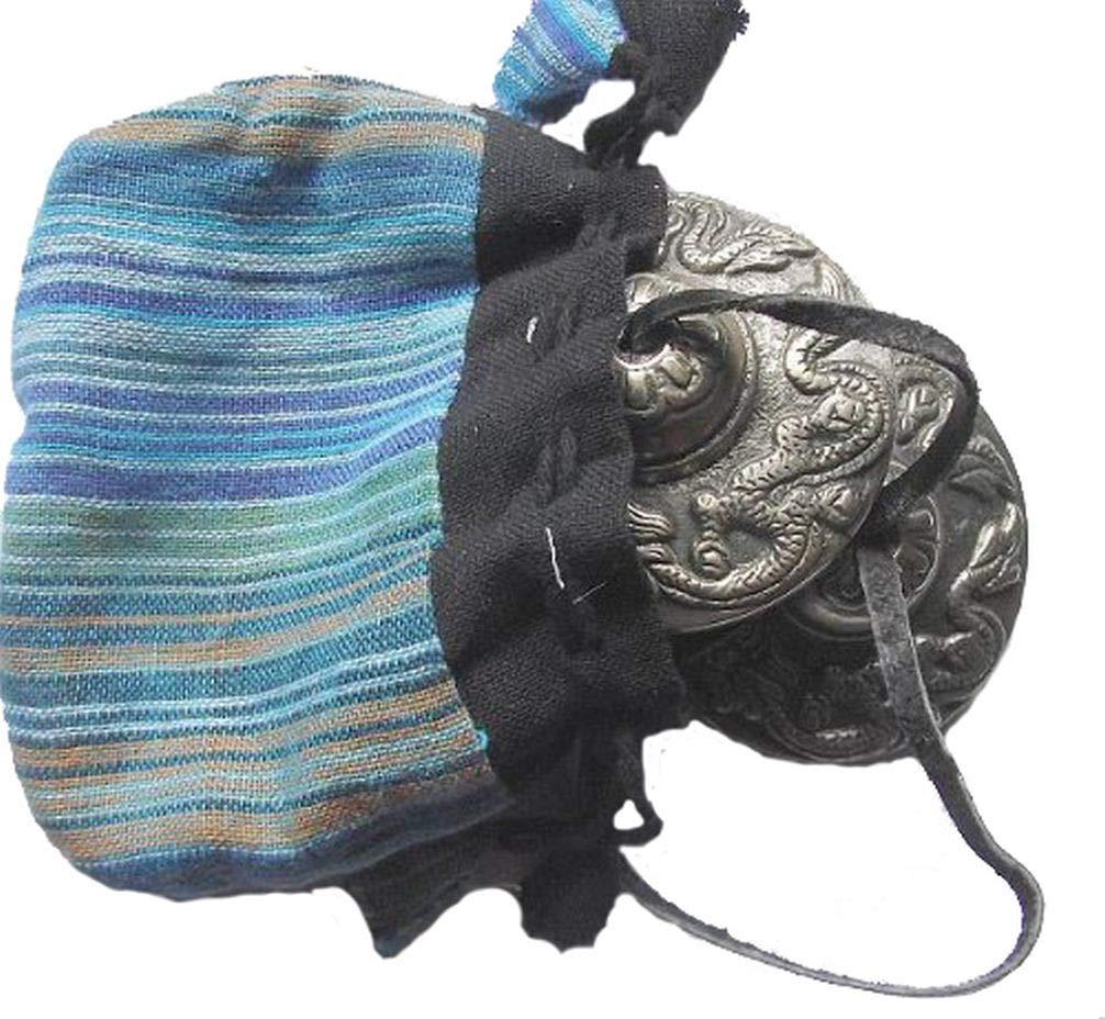 bouddhiste tib/étain Dragon Main Chimes 62/mm sur cordon en cuir avec cordon en coton avec /étui de transport Couleurs et motifs peuvent varier