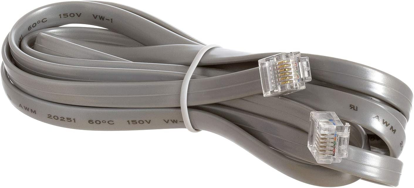 Gray Cmple 6 Conductor Wire with RJ12 6P6C Plug Cable for Landline Telephone 7 Feet Telephone Extension Cord Cable